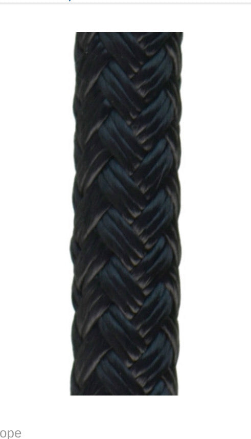VLS™- Very Low Stretch Solid Black Double Braid 100% Polyesterin black for high strengh rigging and stage/concert hauling.   NATE tower climbing ready now at a deeply discounted sale closeout price in stage riggers black pulling anchor points