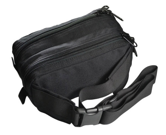 The standard Rock Exotica all black AZTEK Bag is a specially designed hip-pack with two compartments to accommodate the simultaneous use and storage of the mechanical advantage pulley set on one end (system end) and the edge restraint on the other.  part#P41 Bag.  now at a deeply discounted sale closeout price