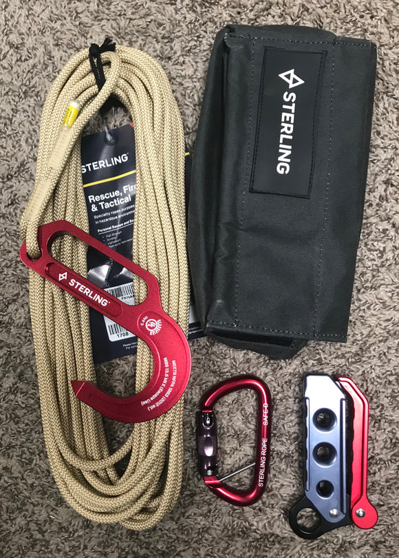 Sterling Rope FCX FireTech Lightning Escape System w/F4-50 Heat Resistant Bag with HK Sleeve part#KTFCXFTLH