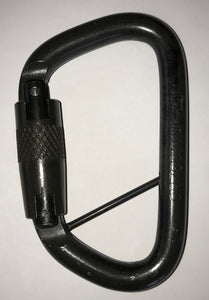 "Omega Pacific Modified D 7/16"" Steel Quik-Lok/2-Stage Carabiner w/Captive Eye that can be tapped in later on as part of an assembly on an ankle strap or other webbing loop —Black"