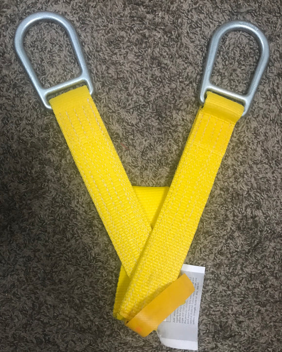 Yates Super Duty/SD Anchor Sling  -MBS=15,000 Lbs ~4 foot.     Add versatility to any tactical, rescue or rigging system.  Large D ring at ends of strap allow the sling to be wrapped single, double, triple and rigged choker style depending on the particular situation.  Manufactured from 2 inch super heavy duty webbing.  D rings are rated at 20,000 lbf.    ~4 foot  Available in yellow.  Strength: Super Duty 15,000 lbf. WLL 1500 lbf at 10:1 Safety margin.