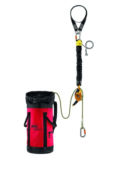 the Petzl Jag rescu kit/system provides all of the necessary Components needed for a rescue at height of the 60 m system utilizes 200 feet of 11 mm rated lifeline a pencil ID Anchor strap with the rings in a friction control aluminum ring also by Petzl
