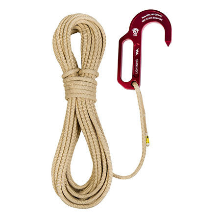 Sterling 7.5mm FireTech 50' Rope with Lightning Hook sewn on part#F075AAHLS15