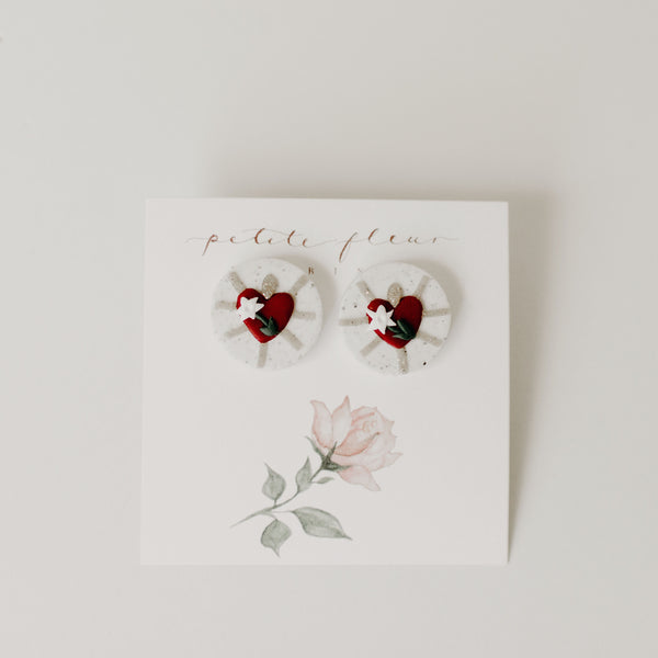 The Chaste Heart Stud Earrings