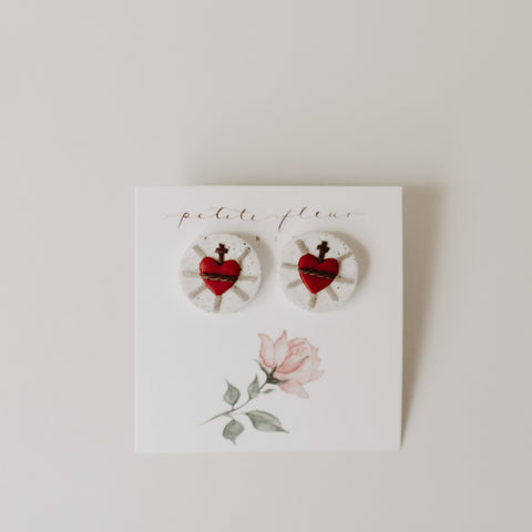 The Sacred Heart Stud Earrings