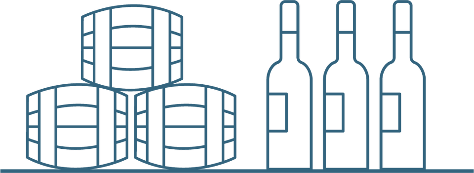Wine barrels and bottle icon