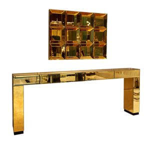 Modern Italian Gold Mirrored Console Table With Drawers - Gattopardo