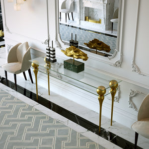 Luxury Glossy Gold Console Table - Lotus