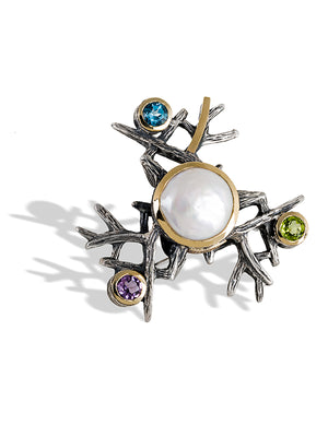 Crystal Glass Brooch with Natural Stones