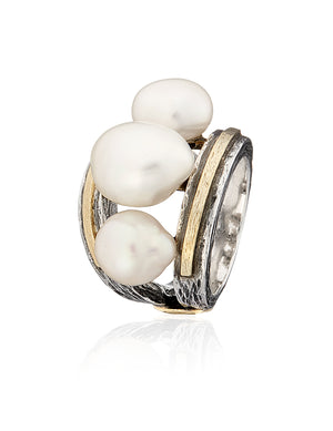 Flower Ring with 3 Natural Pearls - Collier