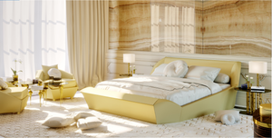 Contemporary Gold Leather Upholstered Bed - Lotus