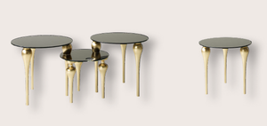 Luxury Glossy Gold Side Table Set - Lotus