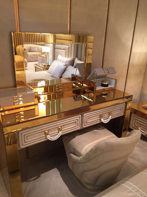 Luxury Gold Mirrored Dressing Table With Drawers - Collier