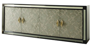 Luxury Modern Ebony And Damask Fabric Sideboard - Lotus