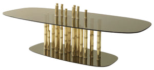 Luxury  Gold Plated Bamboo Glass Coffee Table - Lotus