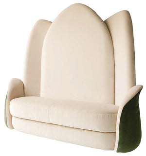 Designer Velvet Flower High Bench - Lotus