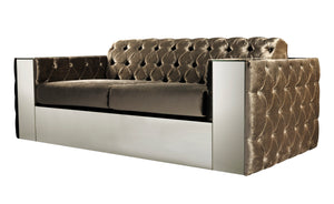 Luxurious Velvet Box Style Buttoned Sofa - Pony