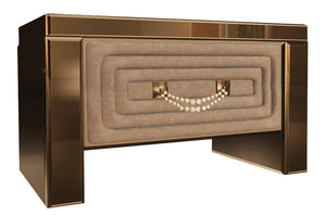 High End Italian Mirrored Suede Bedside Table Collier