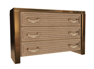 High End Italian Mirrored Suede Drawers Collier