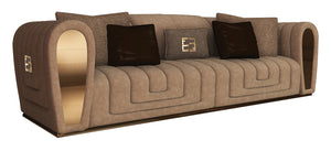 High End Contemporary Italian Designer Quilted Suede Fabric Sofa -  Collier