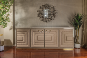 Luxury Quilted Suede Fabric Sideboard with marble top - Collier
