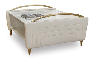Modern Upholstered Ivory Leather Square Coffee Table - Tuscany