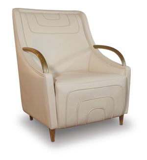 Modern  Stitching Ivory Leather Armchair - Tuscany