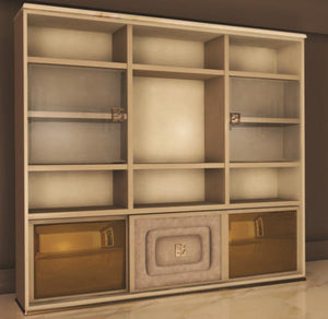 High End Modern  Ivory Shelving Wall Unit Collier