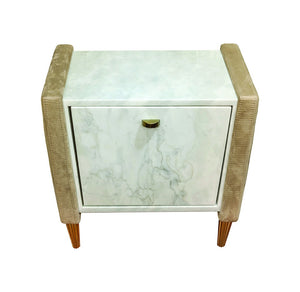 Modern  Upholstered Suede Fabric with Carrara Marble Bedside Table Tuscany