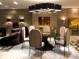 Exclusive Spider Pedestal Round Glass Dining Table Sets
