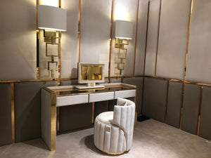 Luxury Gold Brass Dressing Table With Drawers - Signature