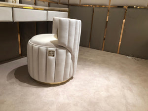 Luxury Upholstered Ivory Soft Velvelt Stool - Siganture
