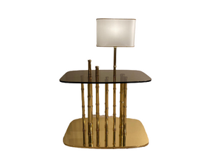 Luxury Bamboo Side Table with Lamp - Lotus