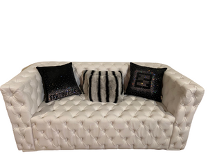Modern White Faux Leather Sofa - Lión