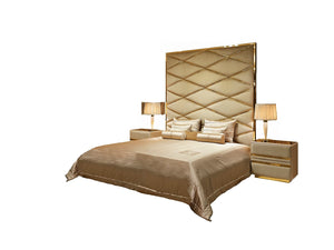 High End Modern Taupe Soft Velvet Bed - Gattopardo