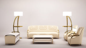 Modern  Stitching Ivory Leather Sofa - Tuscany