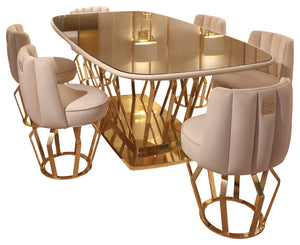 High End Brass Oval with Bronze Crystal Dining Table - Signature