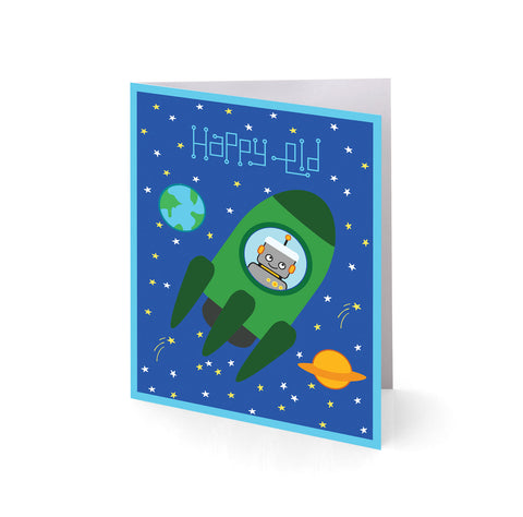 Rockets 'n Robots Eid Greeting Cards