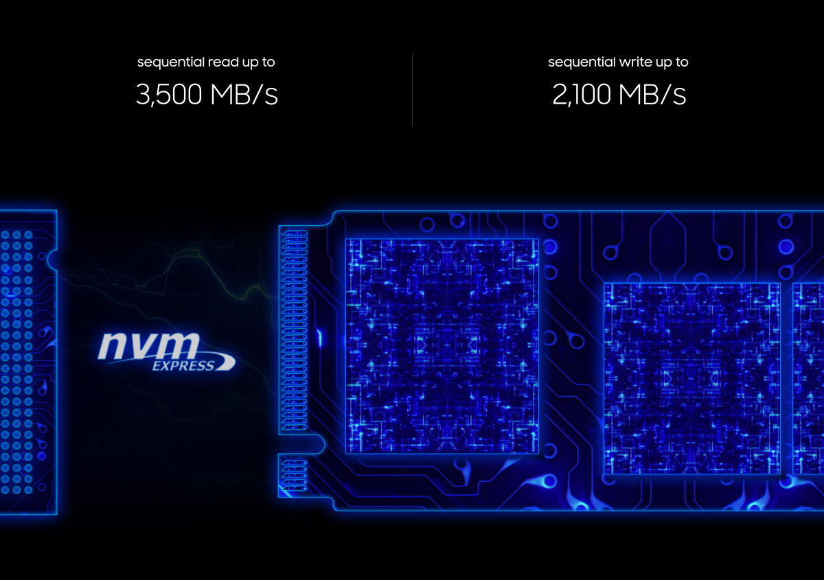 NVM Express. Sequential read up to 3,500 MB/s, Sequential write up to 2,100 MB/s.