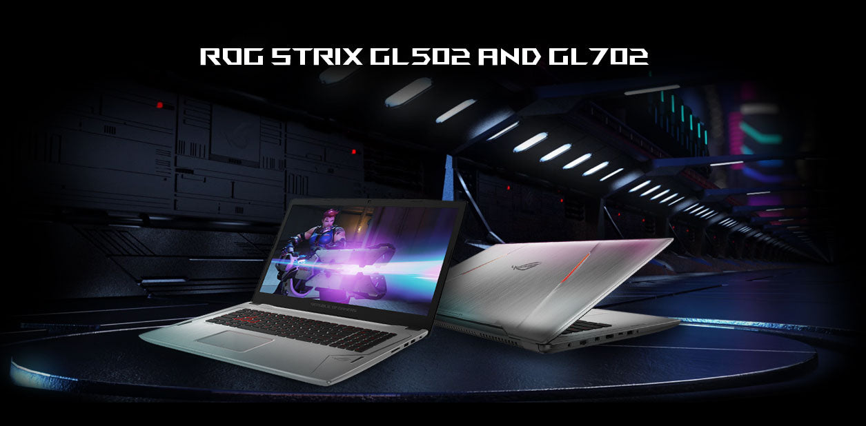 Image of ASUS laptops. ROG STRIX GL502 and GL702. Compact and Potent.