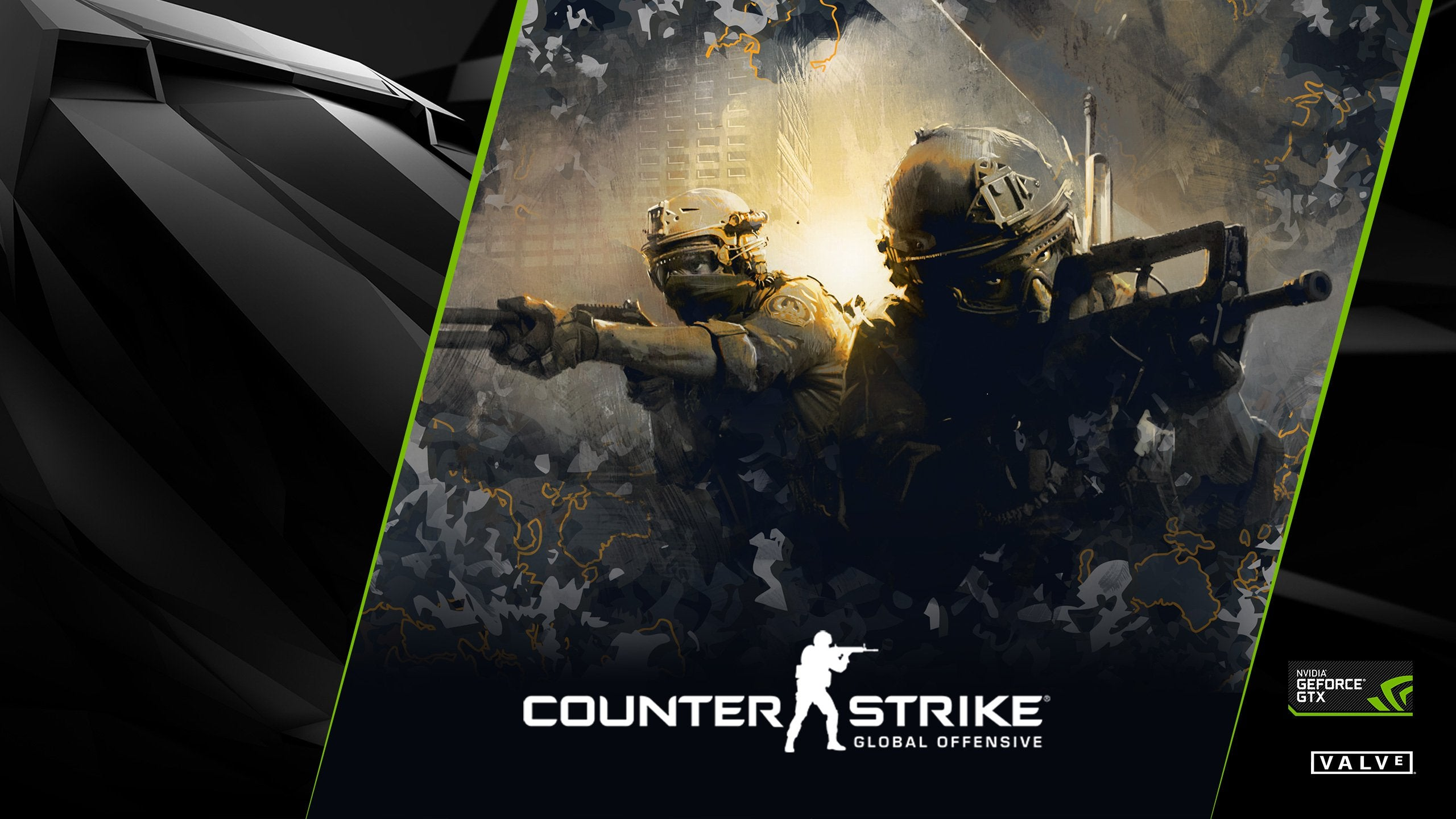 Stylized picture of Counter Strike: Global Offensive counter-terrorists. Counter Strike: Global Offensive, NVIDIA GeForce GTX, and Valve logos