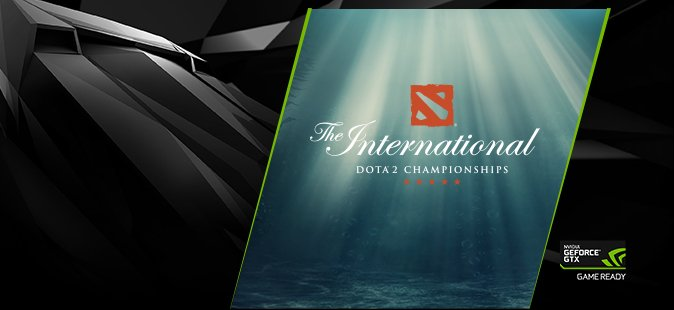 The Internationl DOTA 2 Championships. NVIDIA GeForce GTX Game Ready Logo.