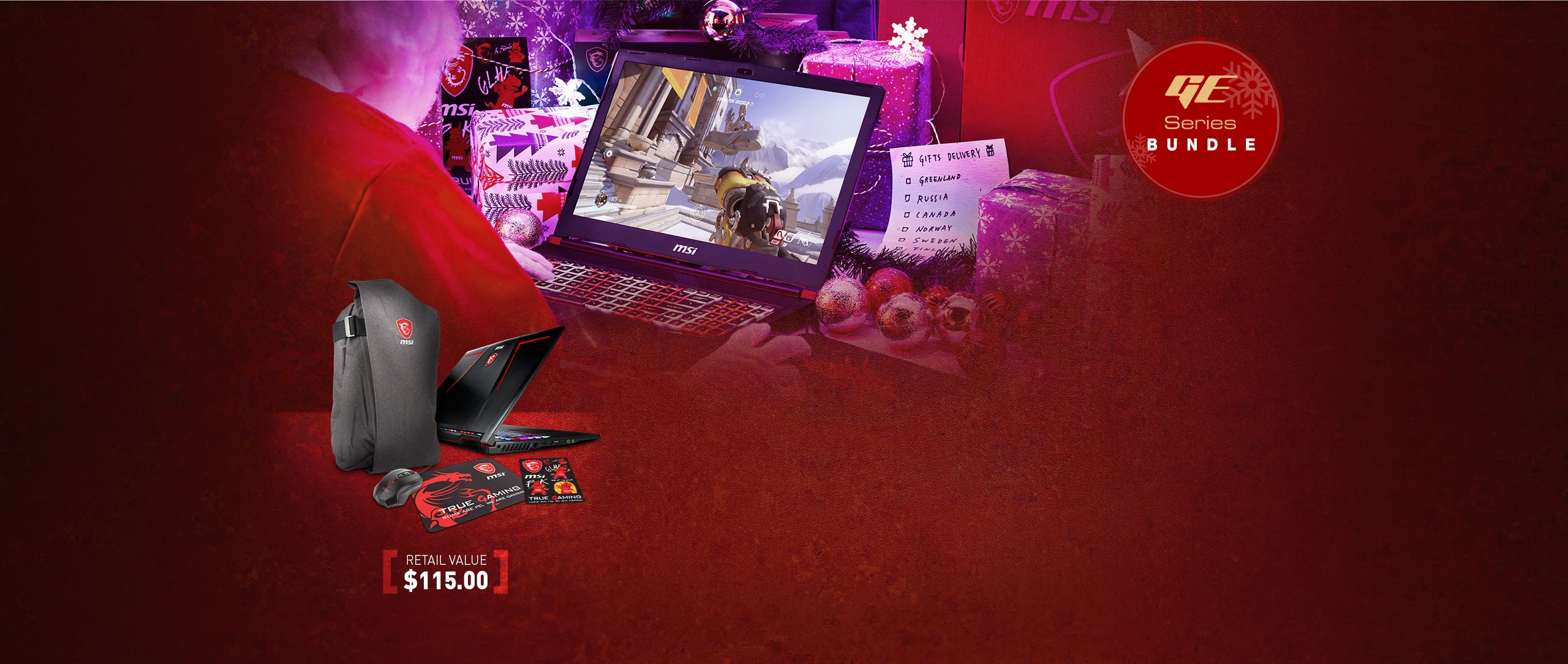 GE Series Bundle. Retail Value $115.00. Image Shows MSI backpack, mouse, mousepad and stickers.