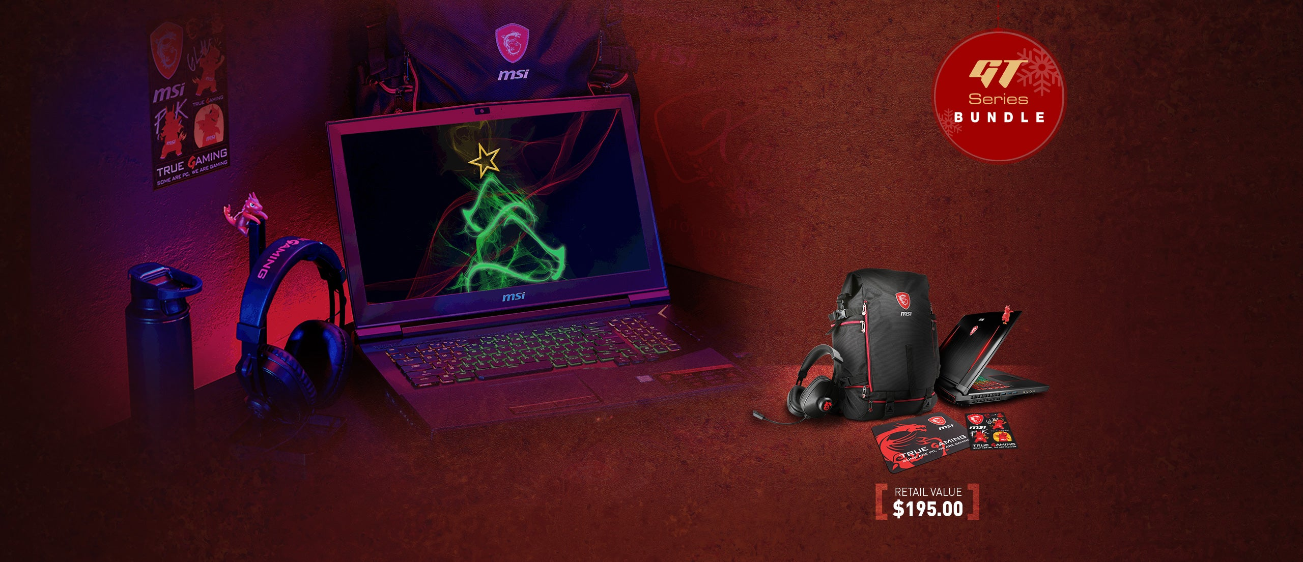 GT Series Bundle. Retail Value $195.00. Image Shows MSI headset, backpack, mousepad, stickers and Lucky the Dragon climber.