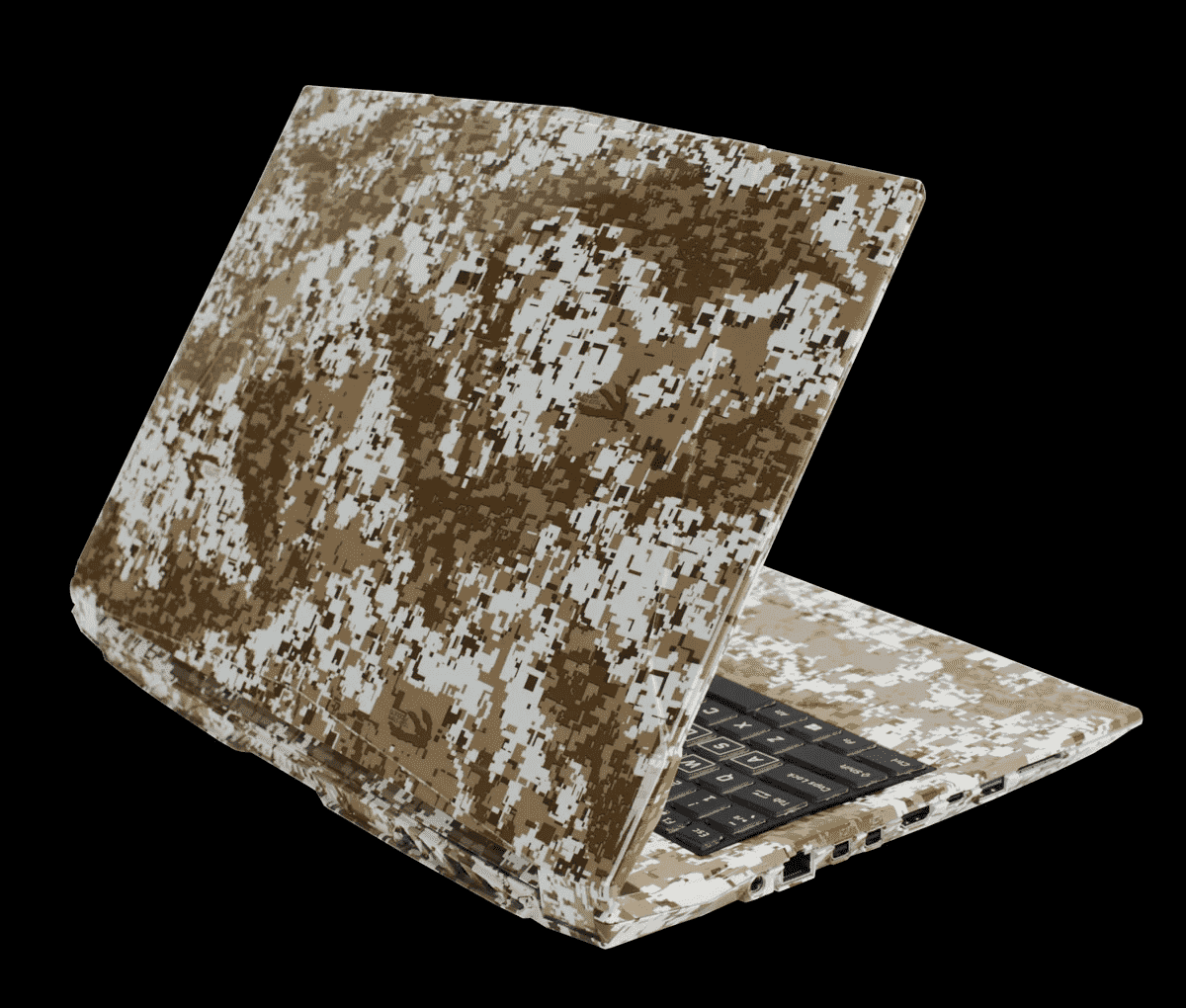 Laptop hydro dipped with a camouflage pattern.