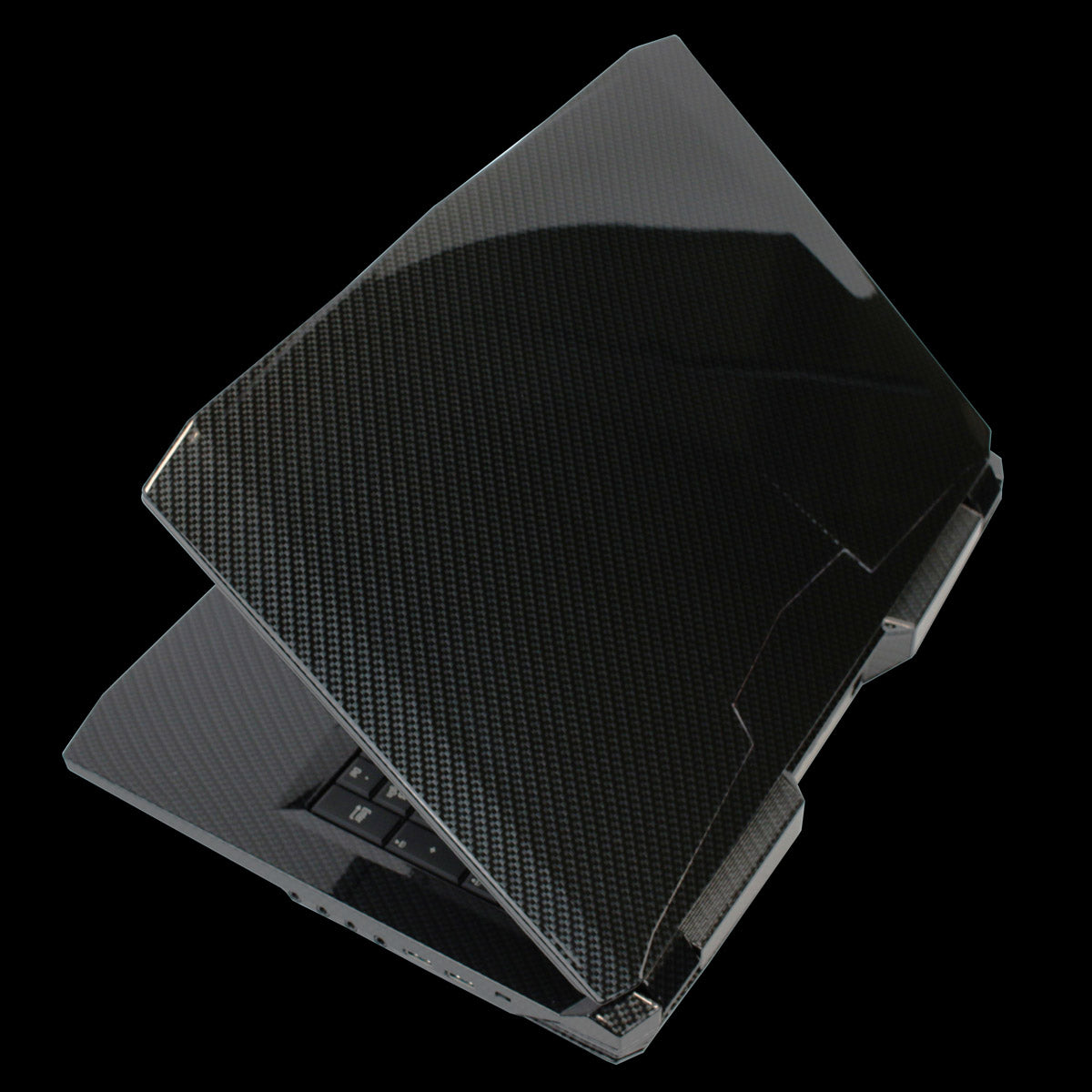 Laptop hydro dipped with carbon fiber and black pattern.