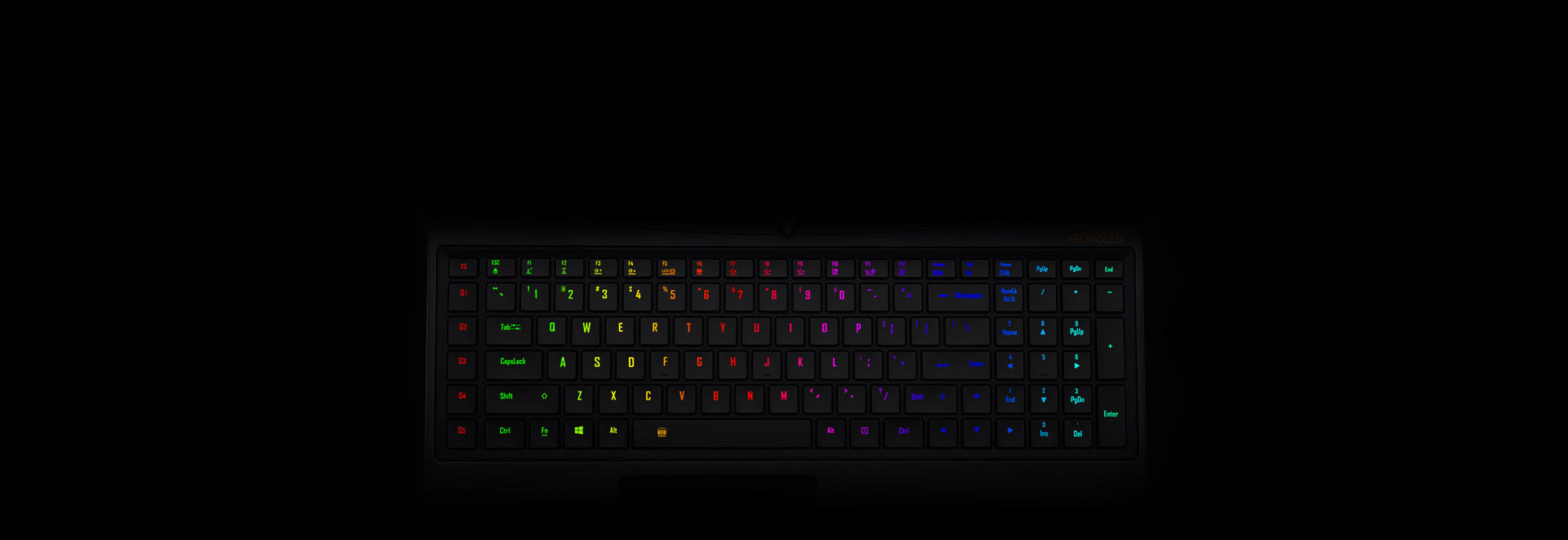 AORUS laptop full-color keyboard