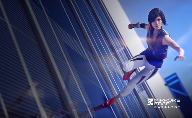 Screenshot of Faith from Mirror's Edge running on the side of a sky scraper. Mirror's Edge Catalyst Logo.