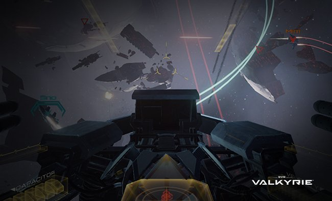 Screenshot of Valkyrie, flying through space shooting at other Valkyries. EVE: Valkyrie Logo.