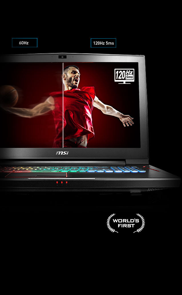 Image of laptop, split shows lower quality without 120Hz/5ms screen and higher quality with. MSI Worlds First.